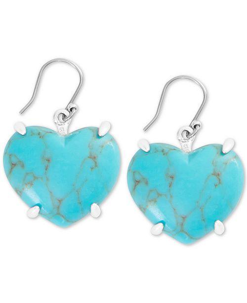 Lucky Brand Silver-Tone Stone Heart Drop Earrings