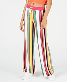 Striped Wide-Leg Track Pants