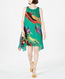 Petite Printed Chiffon Trapeze Dress