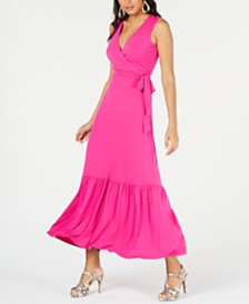 Thalia Sodi Faux-Wrap Ruffled Maxi Dress, Created for Macy's