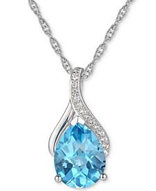 "Blue Topaz (1-7/8 ct. t.w.) & Diamond (1/20 ct. t.w.) 18"" Pendant Necklace in 14k White Gold"