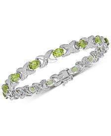 Peridot (7 ct. t.w.) & Diamond Accent Bangle Bracelet in Sterling Silver
