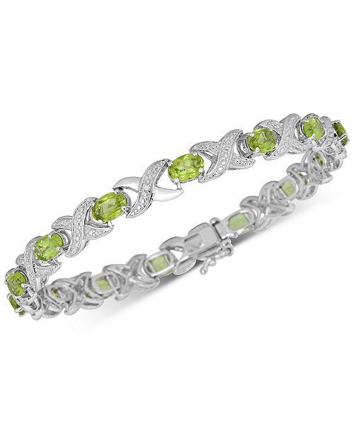 Macy's Peridot (7 ct. t.w.) & Diamond Accent Bangle Bracelet in Sterling Silver