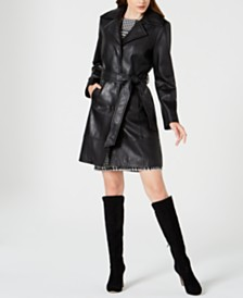 Jones New York Belted Leather Trench Coat