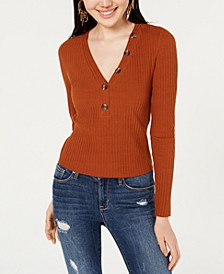 Juniors' Ribbed-Knit Henley Top