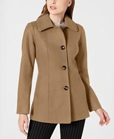 London Fog Petite Single-Breasted Double-Collar Coat