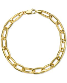Paperclip Link Chain Bracelet in 14k Gold