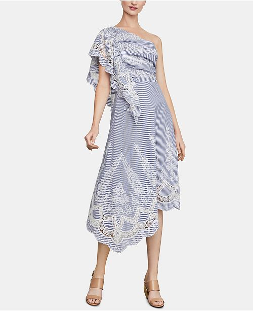 BCBGMAXAZRIA Embroidered One-Shoulder Dress