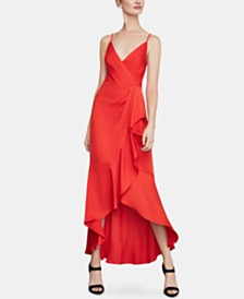 BCBGMAXAZRIA Satin High-Low Dress
