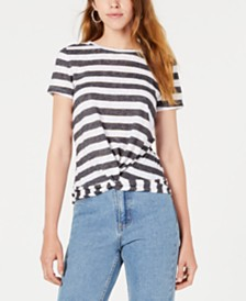 Bar III Striped Twist-Hem Top, Created for Macy's