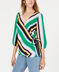 Bar III Striped Wrap Blouse, Created for Macy's