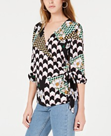 Bar III Mixed-Print Wrap Top, Created for Macy's