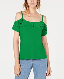 Flounce-Trim Cold-Shoulder Top, Created for Macy's