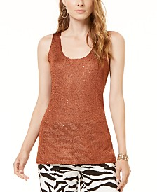 I.N.C. Petite Sequined Sweater Tank Top, Created for Macy's