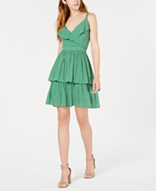 Bar III Printed Ruffled Dress, Created for Macy's