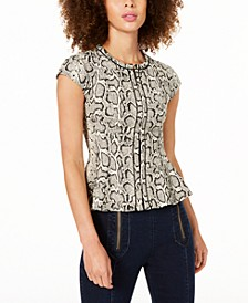 Snake-Print Zip-Up Peplum Top