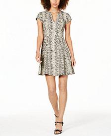 Nanette Lepore Fit & Flare Snake-Print Dress