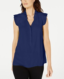 Alfani Pleated Flutter-Trim Top, Created for Macy's