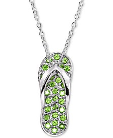 """Giani Bernini Sterling Silver Cubic Zirconia Flip-Flop 18"""" Pendant Necklace, Created for Macy's"""
