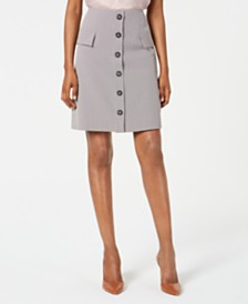 Nine West Houndstooth-Print Button-Front Skirt