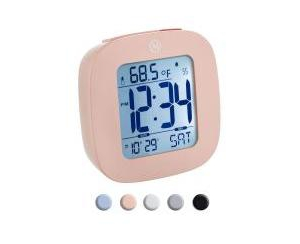 Marathon Small Compact Alarm Clock with Repeating Snooze, Light, Date and Temperature