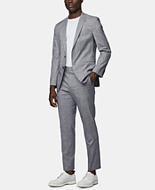 BOSS Men's Checked Slim-Fit Suit