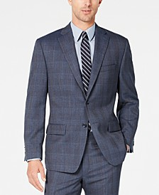 Men's Classic-Fit Airsoft Stretch Blue Plaid Suit Jacket