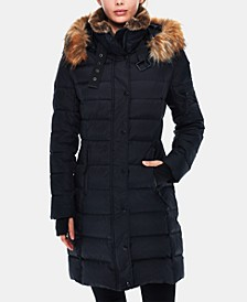 Uptown Faux-Fur-Trim Matte Puffer Coat