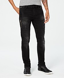 Men's Slim-Fit Black Tapered Moto Jeans