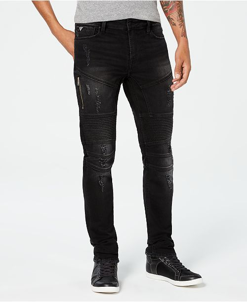 GUESS Men's Slim-Fit Black Tapered Moto Jeans