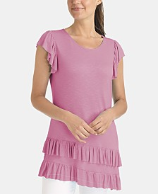NY Collection Ruffled Cap-Sleeve T-Shirt