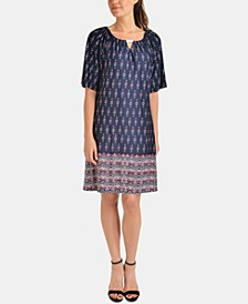 Petite Hardware-Trim Border-Print Dress
