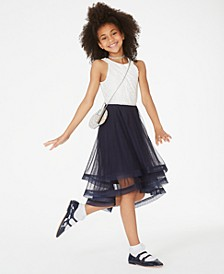 Big Girls Glitter Lace-Bodice Dress
