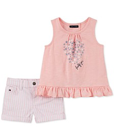 Little Girls 2-Pc. Star-Print Top & Striped Shorts Set