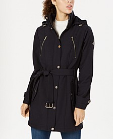 Petite Hooded Raincoat, Created for Macy's