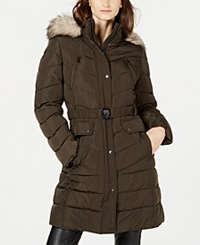 Hooded Faux-Fur-Trim Belted Puffer Coat, Created for Macy's