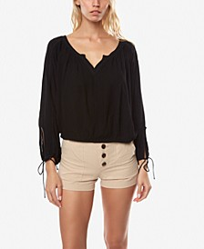 Juniors' Eliss Tie-Sleeve Top