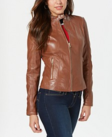 Leather Jacket with Snap Collar