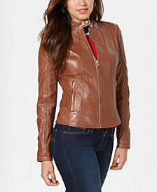 GUESS Leather Jacket with Snap Collar