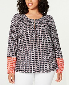 Plus Size Cotton Mixed-Print Smocked Top, Created for Macy's