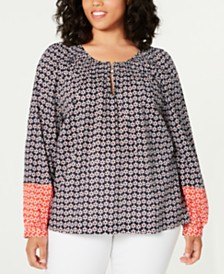 Tommy Hilfiger Plus Size Cotton Mixed-Print Smocked Top, Created for Macy's