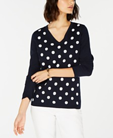 Tommy Hilfiger Polka-Dot Cotton Sweater, Created for Macy's