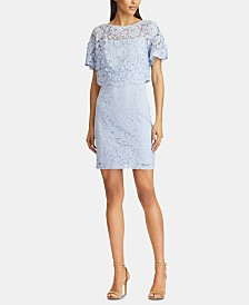 American Living Scalloped-Overlay Floral-Lace Dress