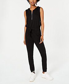Material Girl Juniors' Hooded Sleeveless Zip-Front Jumpsuit, Created for Macy's
