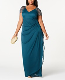 XSCAPE Plus Size Embellished-Shoulder Gown