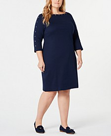 Plus Size Cotton Boat-Neck Studded Dress, Created for Macy's