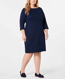 Karen Scott Plus Size Cotton Boat-Neck Studded Dress, Created for Macy's
