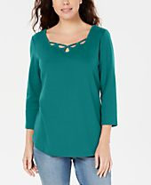 Karen Scott Cotton Keyhole Stud Top, Created for Macy's