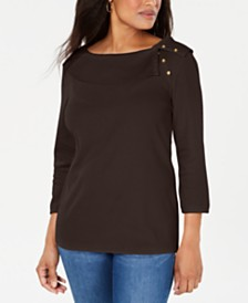 Karen Scott Cotton Shawl-Collar Button Top, Created for Macy's