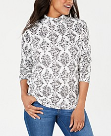 Petite Floral-Print Mock-Neck Top, Created For Macy's